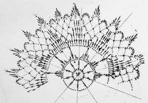 heegeldamise skeem- Suure motiivi 3 esimest rida on 12 lehega. Iga lehe tipus ühenda motiiv (10 kettsilmust + ühendussilmus + 10 kettsilmust) suure motiivi külge.